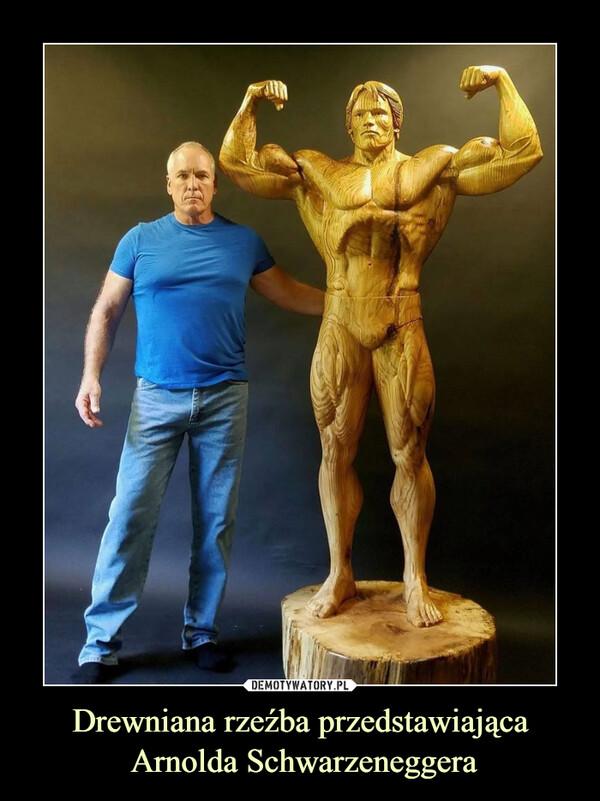 Drewniana rzeźba przedstawiająca Arnolda Schwarzeneggera –