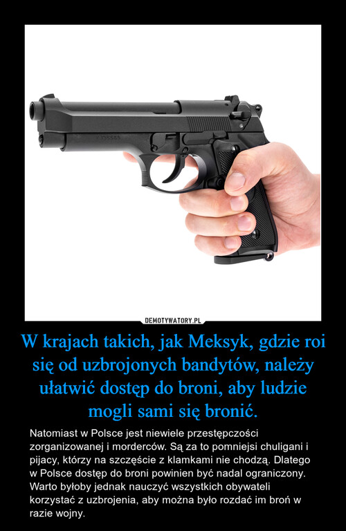 W krajach takich, jak Meksyk, gdzie roi się od uzbrojonych bandytów, należy ułatwić dostęp do broni, aby ludzie mogli sami się bronić.