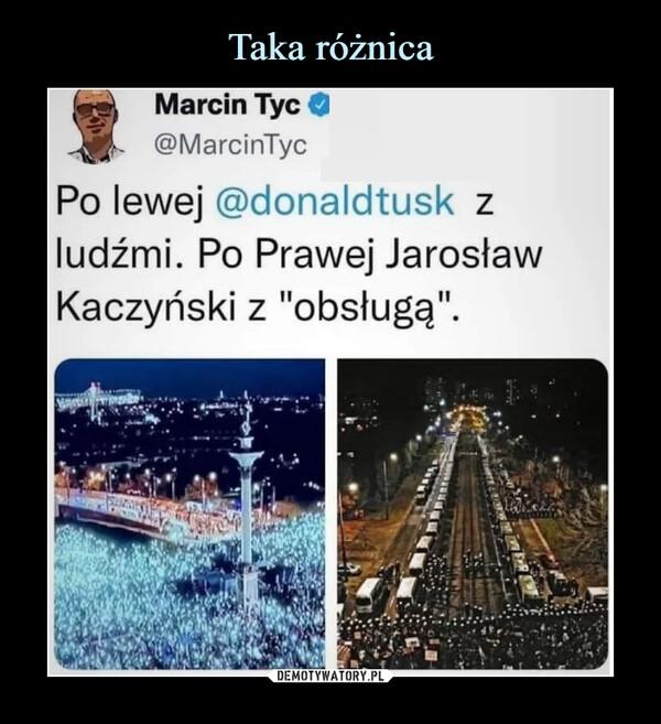"""–  Marcin Tyc O, @MarcinTycPo lewej @donaldtusk zludźmi. Po Prawej JarosławKaczyński z """"obsługą""""."""