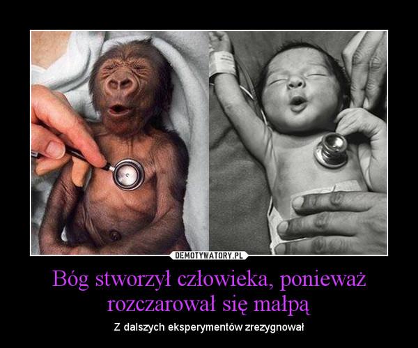 Bóg stworzył człowieka, ponieważ rozczarował się małpą