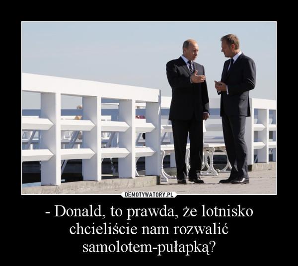 - Donald, to prawda, że lotnisko chcieliście nam rozwalić samolotem-pułapką?